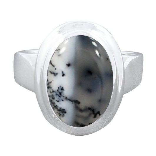 925 Sterling Silver Dendritic Opal Gemstone Ring (D62)