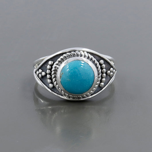 925 Sterling Silver Mexican Turquoise Gemstone Ring (D71)