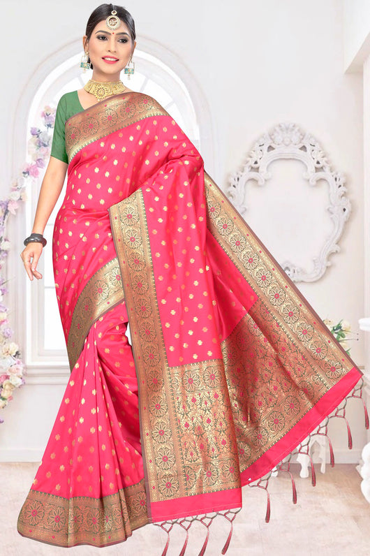 Pink and Metallic Gold Designer Saree