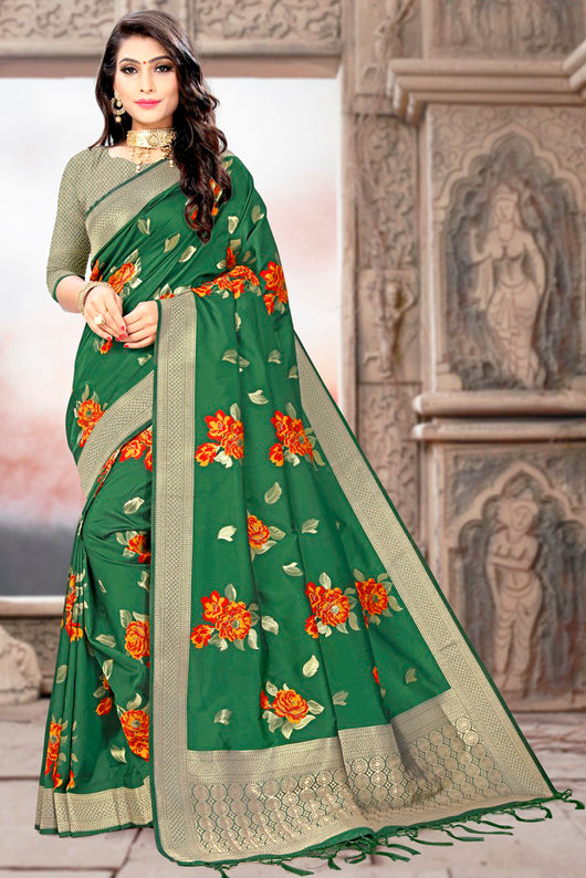 Gorgeous Green and Red Floral Saree