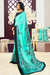 Arctic Blue and Black Pattern Crepe Saree