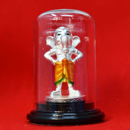 999 Pure Silver Circular Bal Ganesha with Orange Clothing