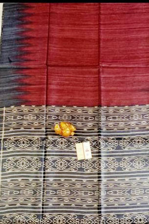 Silk Mark Certified Pure Handloom Tussar Ghicha Silk Saree In Black And Red Color