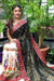 Designer Pure Georgette Saree in Kacchi Gamthi Embroidery Work (Black /White)