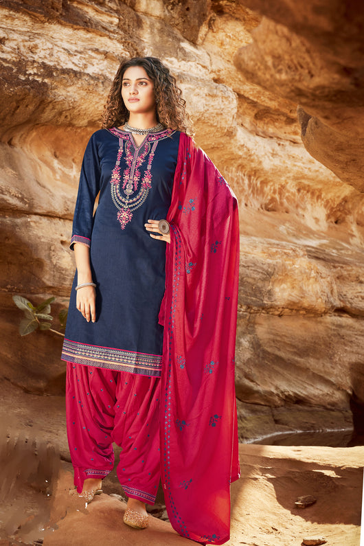 Silk Cotton Suit With Patiala Salwar and Fancy Dupatta (107)