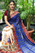 Designer Pure Georgette Saree in Kacchi Gamthi Embroidery Work (Blue/White)