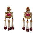 Bejeweled and Beaded Golden Earrings in Red