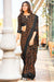Soft Linen Silk Black Colored Saree with Brown Designs