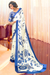 Azure Blue and Powder White Designer Crepe Saree