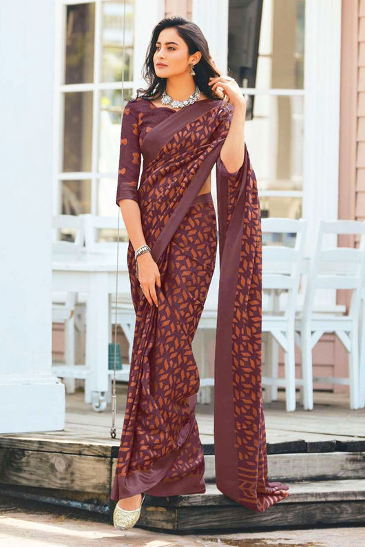 Soft Linen Silk Brown Colored Saree