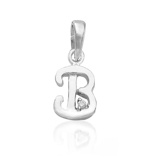 "Letter ""B"" 925 Sterling Silver Small Studded Pendant"
