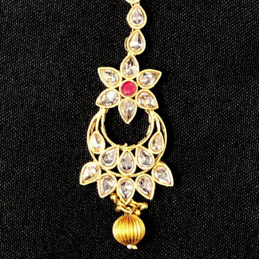 Chandbali Bejeweled Ruby Maang Tika