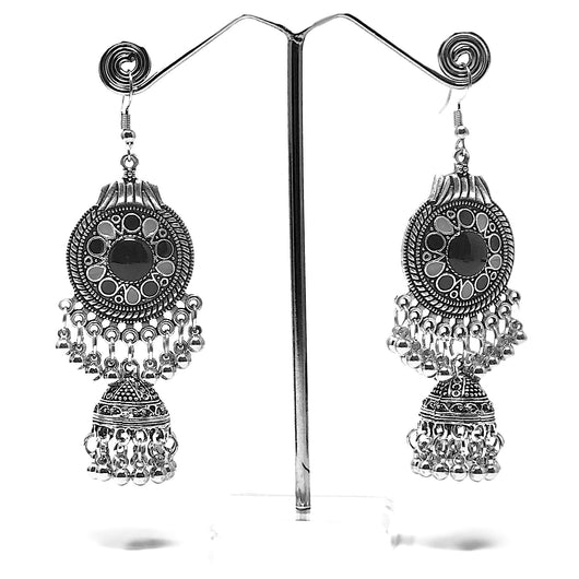 Black Long Dangle Oxidized Earring with Jhumki