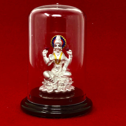 999 Pure Silver Small Lakshmi Idol with Purple Headrest in Circular Base