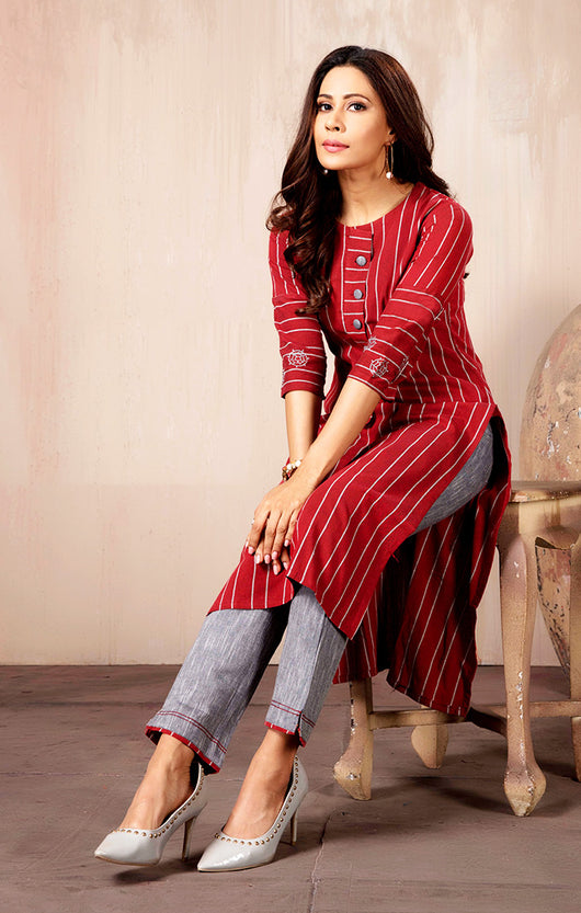 Cotton Kurti with Pant in Red Color(K23)