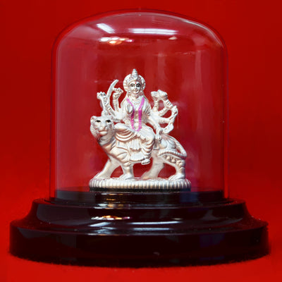 999 Pure Silver Durga Mata in Oval with Garland