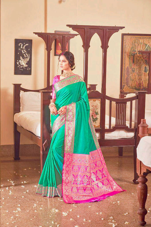 Beautiful Soft Silk Dark Green Saree with Golden Designer Pallu