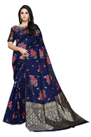 Designer Navy Blue and Floral Saree