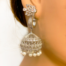 Designer American Diamond Jhumki with White Beads