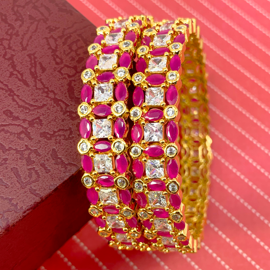 American Diamond & Semi-Precious Ruby Bangles (Design 14)