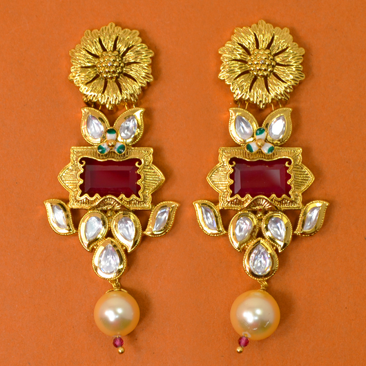 Gold Plated Kundan Earrings (Design 19)