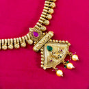 Gold Plated Traditional Indian Necklace Set with Earrings   (25)