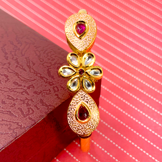 Gold Plated Kundan Openable Bracelet (Design 27)