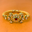 Gold Plated Kundan Openable Bracelet (Design 5)