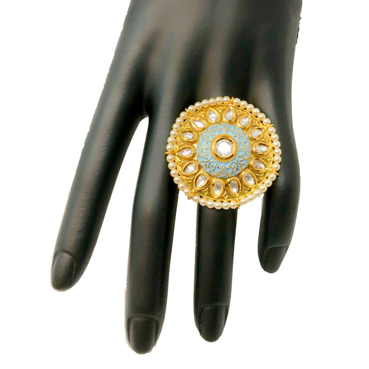 Adjustable Gold Plated Kundan Ring (D7)