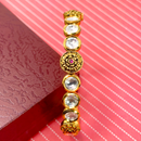 Gold Plated Kundan Openable Bracelet (Design 9)