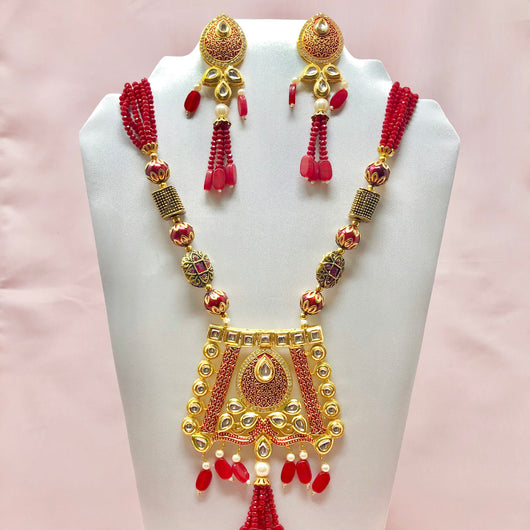 Designer Handcrafted Long Necklace with Red Semi Precious Beads