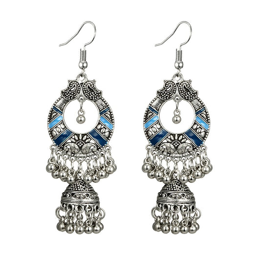 German Silver Light Blue and Dark Blue Dangle Earrings with Jhumki