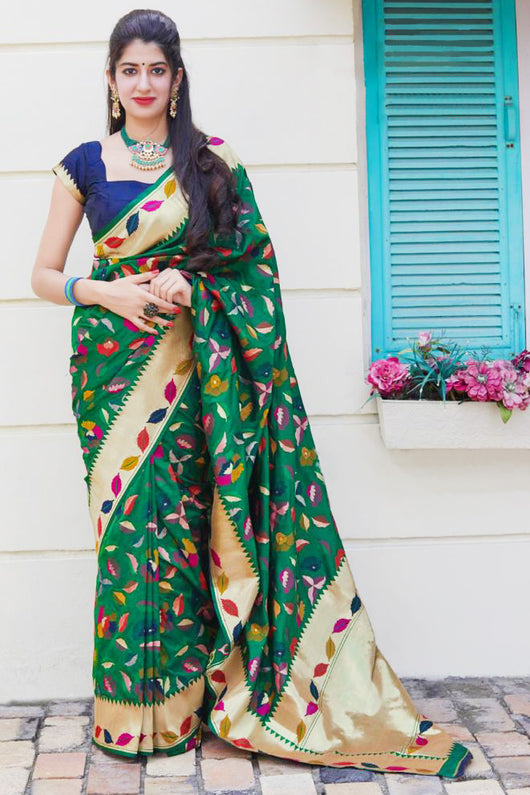 Banarasi Silk Designer Dark Green and Golden Saree