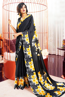 Black Crepe Saree with Yellow Flowers