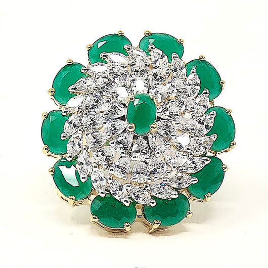 Large Floral American Diamond Ring