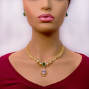 American Diamond and Semi-Precious Emerald Set