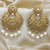 Golden Engraved Earrings with Pearls