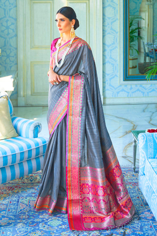 Soft Silk Designer Anchor Grey and Garnet Red Saree