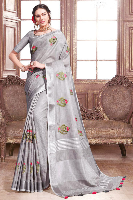 Cotton Silk Beautiful Embroidery Designer saree In Gray Colour