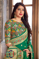 Banarasi Silk Designer Pine Green and Golden Saree