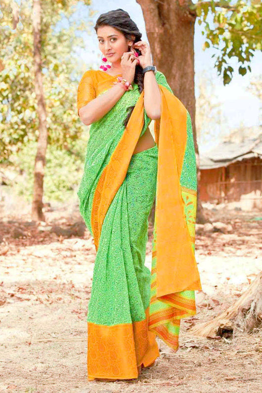 Linen Silk Designer Shamrock Green and Dandelion Yellow Saree
