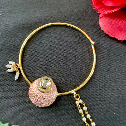 Gold Plated Baby Pink Nath