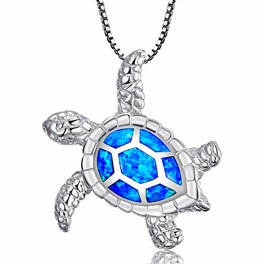 Large Opal Inlay Sea Tortoise Turtle 925 Sterling Silver Pendant (Design 61)