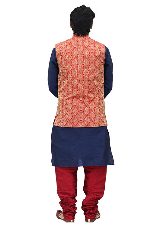Designer Silk Kurta Pajama with Waist Coat (D23)