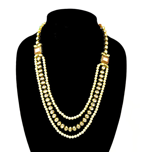 Multiple Line Pearl and Kundan Long Necklace