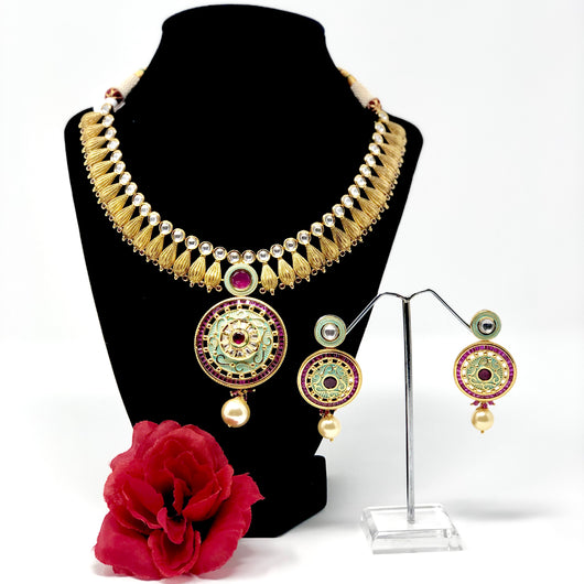 Designer Gold Plated Mint Necklace studded with Semi Precious Stones