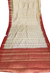 Parchment White and Red Designer Saree in Cotton Silk