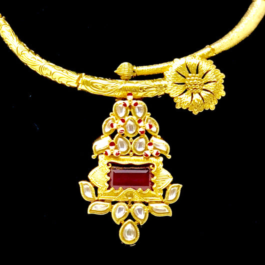 Simple Gold Plated Kundan Ruby Necklace Set