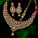 Gold Plated Ruby Kundan Set