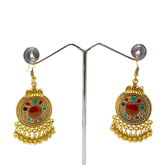 Gold-Toned Dangle Earrings with Small Bells